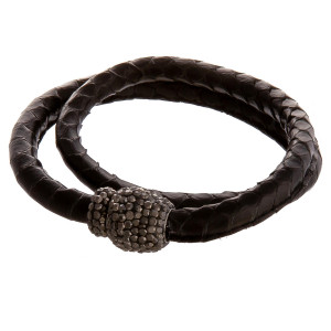 "Faux leather wrap bracelet featuring snakeskin print and a rhinestone detailed magnetic closure. This style can also be worn as a choker. Approximately 12"" in length unclasped. Fits up to a 6"" wrist."