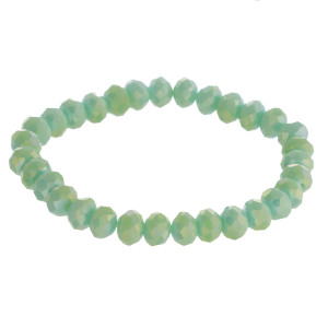 """Matte faceted beaded stretch bracelet. Approximately 3"""" in diameter unstretched. Fits up to a 6"""" wrist."""