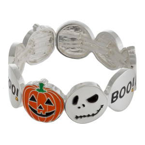 "Halloween metal stretch bracelet with ""The Nightmare Before Christmas"" enamel illustration details. Approximately 3"" in diameter unstretched. Fits up to a 6"" wrist."