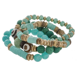 "Semi precious beaded stretch bracelet set featuring spacer, lava and wood bead details. Approximately 3"" in diameter unstretched. Fits up to a 6"" wrist."