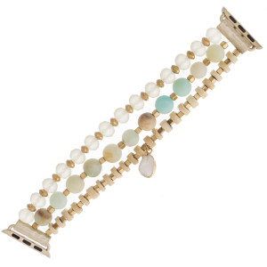 "Interchangeable semi precious beaded stretch smart watch band/bracelet featuring natural stone, wood and faceted bead details with a druzy charm. WATCH NOT INCLUDED. Approximately 4.5"" in diameter. Fits up to a 7"" wrist.  - 38mm"