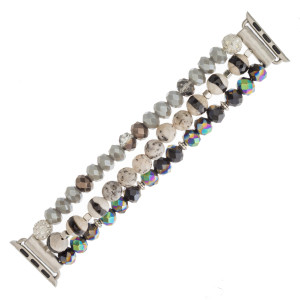 "Interchangeable semi precious beaded stretch smart watch band/bracelet with rhinestone bead accents. WATCH NOT INCLUDED. Approximately 4.5"" in diameter. Fits up to a 7"" wrist.   - 38mm"