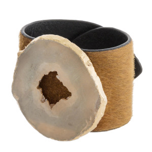 """Faux fur leather bracelet featuring druzy focal with an adjustable button snap closure. Approximately 3"""" in diameter and 2"""" wide."""