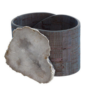 """Druzy cork bracelet featuring adjustable button snap closure. Approximately 3"""" in diameter. Fits up to a 6"""" wrist."""