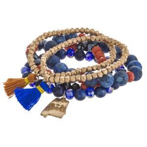 """Semi precious Auburn game day beaded stretch bracelet set of five featuring tassel accents. Approximately 3"""" in diameter unstretched. Fits up to a 6"""" wrist."""