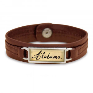 "Officially licensed, University of Alabama brown faux leather snap bracelet with a silver tone bar saying ""Alabama""."