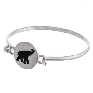 "Elephant engraved bangle bracelet. Approximately 3"" in diameter. Fits up to a 6"" wrist."