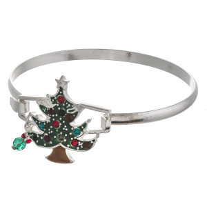 "Enamel coated Christmas tree bangle bracelet with hook closure. Approximately 2.5"" in diameter. Fits up to a 6"" wrist."