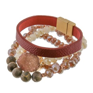 """Semi precious beaded druzy faux leather magnetic stretch bracelet set.  - 3pc/pack - Magnetic clasp - Stretchy strand - Approximately 3"""" in diameter unstretched - Fits up to a 6"""" wrist"""