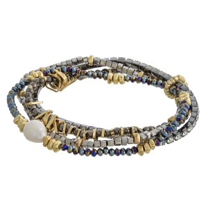 "Seed beaded bracelet set of four with gold and pearl accents.   - Approximately 3"" in diameter unstretched - Fits up to a 6"" wrist"