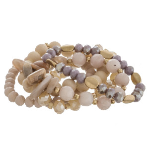 """Semi precious beaded stretch bracelet set of five. Approximately 3"""" in diameter unstretched. Fits up to a 6"""" wrist."""
