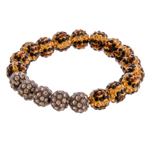 "Leopard print rhinestone beaded stretch bracelet. Approximately 3"" in diameter unstretched. Fits up to a 6"" wrist."