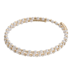 """Pearl beaded cubic zirconia wrap bracelet. Approximately 2.5"""" in diameter. Fits up to a 6"""" wrist."""
