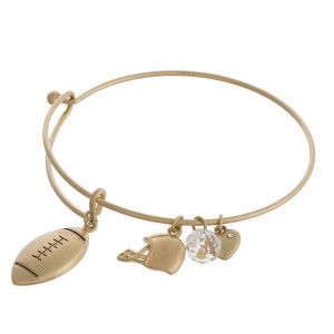 "Gold football charm bangle bracelet with hook closure. Approximately 3"" in diameter. Fits up to a 6"" wrist."