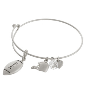 "Silver football charm bangle bracelet with hook closure. Approximately 3"" in diameter. Fits up to a 6"" wrist."