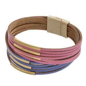 """Two tone multi strand gold bar accented magnetic bracelet. Approximately 3"""" in diameter. Fits up to a 6"""" wrist."""