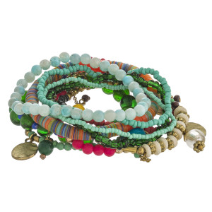 """Multicolor beaded boho charm stretch bracelet set of ten. Approximately 3"""" in diameter unstretched. Fits up to a 6"""" wrist."""