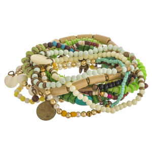 """Multicolor beaded boho charm stretch bracelet set of ten. Approximately 3"""" in diameter unstretched. Fits up to 6"""" wrist."""