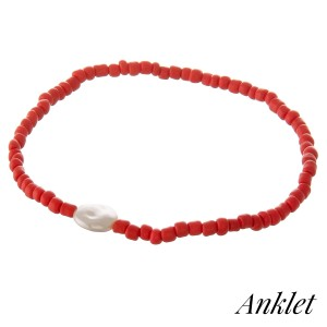 """Bubble beaded faux pearl stretch anklet.  - Approximately 4"""" in diameter unstretched - Fits up to a 9"""" ankle"""