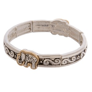 "Two tone antique silver metal elephant filigree stretch bracelet. Approximately 3"" in diameter unstretched. Fits up to a 6"" wrist."