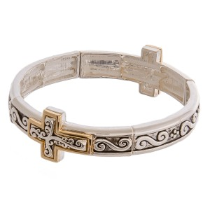 "Two tone antique silver metal cross filigree stretch bracelet. Approximately 3"" in diameter unstretched. Fits up to a 6"" wrist."