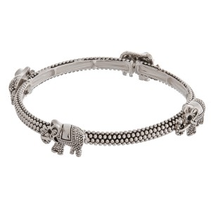 "Antique silver elephant metal stretch bracelet.   - Approximately 3"" in diameter unstretched - Fits up to a 6"" wrist"