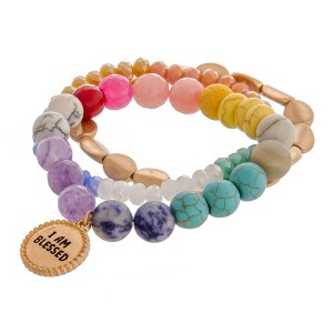 "Multicolor semi precious inspirational beaded stretch bracelet set of three featuring ""I am Blessed"" engraved charm detail.   - Approximately 3"" in diameter unstretched - Fits up to a 6"" wrist"