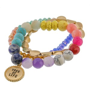 "Multicolor semi precious inspirational beaded stretch bracelet set of three featuring ""Tree of Life"" engraved charm detail.   - Approximately 3"" in diameter unstretched - Fits up to a 6"" wrist"