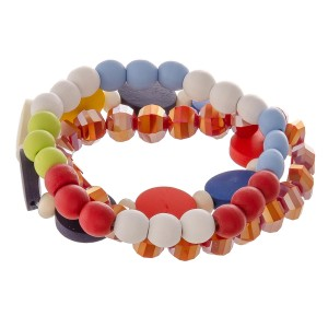 """Multicolor wood beaded stretch bracelet set.  - 3pcs/pack - Approximately 3"""" in diameter unstretched - Fits up to a 7"""" wrist"""
