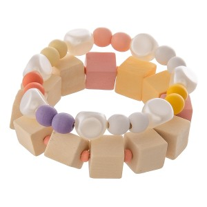 """Chunky wood color block beaded stretch bracelet set with faux pearl accents.  - 2pcs/pack - Approximately 3"""" in diameter unstretched - Fits up to a 7"""" wrist"""