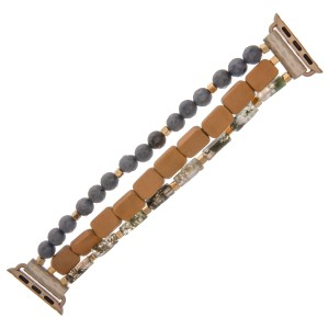 "Interchangeable semi precious wood beaded smart watch bracelet.  - Approximately 3"" in diameter unstretched - Fits up to a 7"" wrist"
