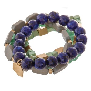 """Semi precious beaded stretch bracelet set with wood details.  - 4pcs/pack - Approximately 3"""" in diameter unstretched - Fits up to a 7"""" wrist"""