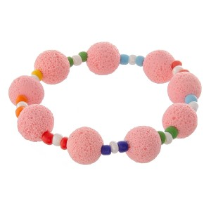 """Lava rock beaded stretch bracelet with multicolor seed beads.  - Approximately 3"""" in diameter unstretched - Fits up to a 7"""" wrist"""