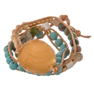 """Multi semi precious beaded druzy cord wrap bracelet.  - Pull through button clasp - Adjustable 2"""" extender - Approximately 3"""" in diameter - Fits up to a 7"""" wrist"""