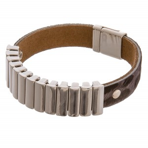 """Cowhide leopard print bar magnetic bracelet.  - Magnetic closure - Approximately 3"""" in diameter - Fits up to a 6"""" wrist"""