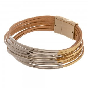 """Faux leather multi strand magnetic bracelet with gold accents.  - Magnetic closure - Approximately 3"""" in diameter  - Fits up to a 6"""" wrist"""