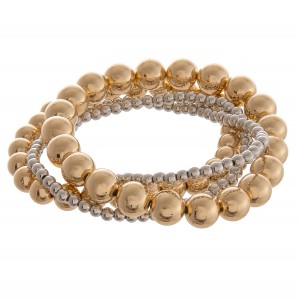 """Beaded stretch bracelet of five.  - Approximately 3"""" in diameter unstretched - Fits up to a 6"""" wrist"""