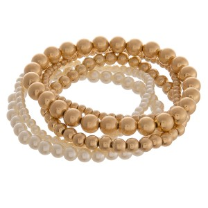 """Faux pearl beaded sphere stretch bracelet set.  - 5pcs/set - Approximately 3"""" in diameter unstretched - Fits up to a 6"""" wrist"""