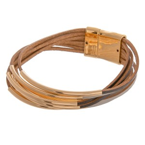 """Faux leather two tone multi strand magnetic bracelet with gold accents.  - Magnetic closure - Approximately 3"""" in diameter - Fits up to a 6"""" wrist"""