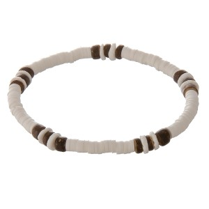 """White spacer beaded stretch bracelet with wood bead details.  - Approximately 3"""" in diameter unstretched  - Fits up to a 7"""" wrist"""