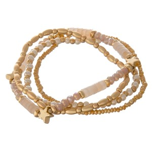 """Semi precious natural stone beaded star stretch bracelet set.  - 4pcs/pack - Approximately 3"""" in diameter unstretched - Fits up to a 7"""" wrist"""