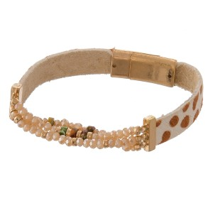 """Genuine leather cheetah print beaded stretch magnetic bracelet with natural stone details.  - Magnetic closure  - Approximately 3"""" in diameter - Fits up to a 6"""" wrist"""