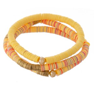 """Polymer Clay spacer disc beaded stretch bracelet set with metal disc details.  - 3pcs/set - Approximately 3"""" in diameter unstretched - Fits up to a 7"""" wrist"""