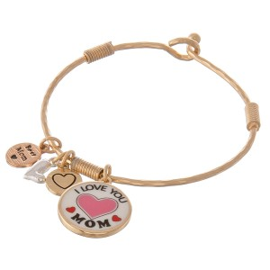 "Multi metal tone enamel coated ""I Love You Mom"" charm bangle bracelet.  - Hook closure - Approximately 2.5"" in diameter - Fits up to a 5"" wrist"
