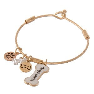 "Multi metal tone enamel coated ""Dog Mom"" charm bangle bracelet.  - Hook closure - Approximately 2.5"" in diameter - Fits up to a 5"" wrist"