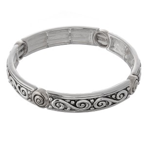 """Antique silver filigree metal stretch bracelet.  - Approximately 3"""" in diameter unstretched - Fits up to a 7"""" wrist"""