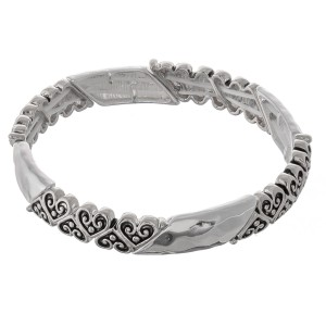"""Silver filigree hammered heart metal stretch bracelet.  - Approximately 3"""" in diameter unstretched - Fits up to a 7"""" wrist"""