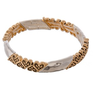 """Two tone filigree hammered heart metal stretch bracelet.  - Approximately 3"""" in diameter unstretched - Fits up to a 7"""" wrist"""