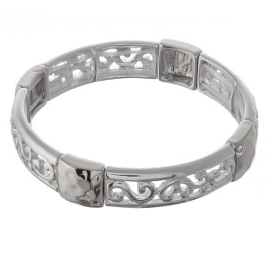 """Silver cut out filigree hammered metal stretch bracelet.  - Approximately 3"""" in diameter unstretched  - Fits up to a 7"""" wrist"""