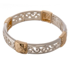 """Two tone cut out filigree hammered metal stretch bracelet.  - Approximately 3"""" in diameter unstretched  - Fits up to a 7"""" wrist"""